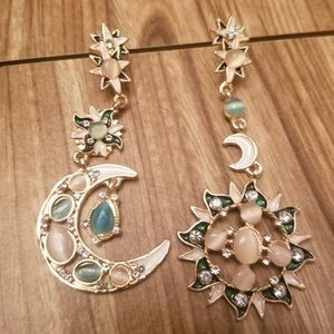 New! Star moon dangle drop statement earrings sun